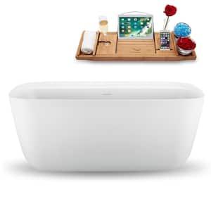 59 in. Acrylic Flatbottom Non-Whirlpool Bathtub in Glossy White