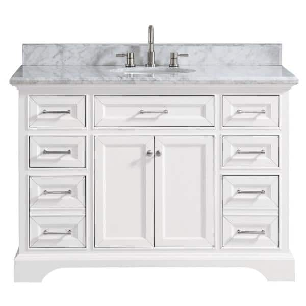Home Decorators Collection - Windlowe 49 in. W x 22 in. D x 35 in. H Bath Vanity in White with Carrera Marble Vanity Top in White with White Sink