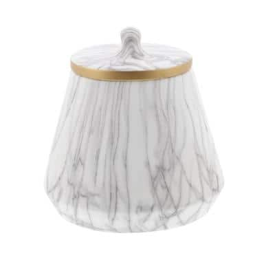 10 in. White Marble Vase with Golden Rims