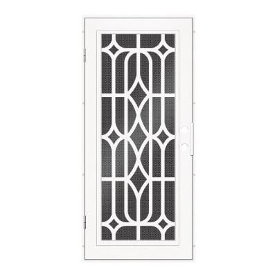 36 in. x 80 in. Essex White Right-Hand Surface Mount Security Door with Black Perforated Metal Screen