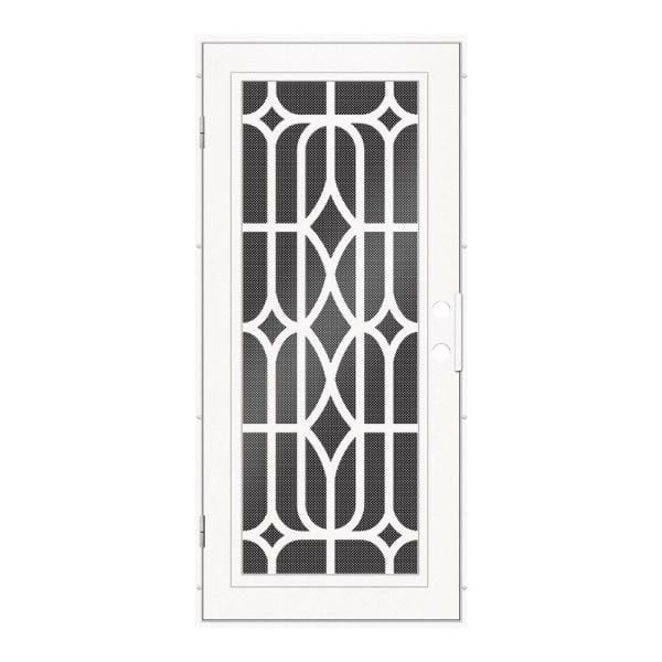 Unique Home Designs 36 In X 80 In Essex White Right Hand Surface Mount Security Door With Black Perforated Metal Screen 1s1501el2whp5a The Home Depot