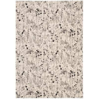 Evoke Ivory/Gray 7 ft. x 7 ft. Square Abstract Area Rug