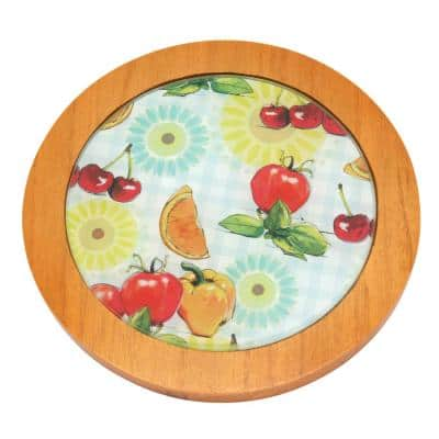 7.5 in. Round Tempered Glass Trivet Serving Board, Fruit Pattern with Solid Wood Trim