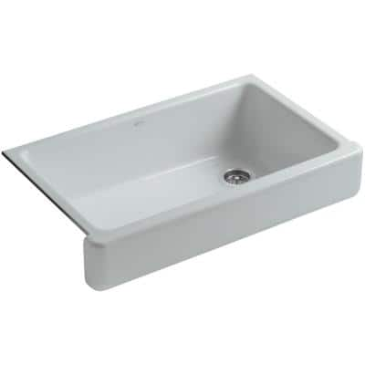 Whitehaven Farmhouse Apron-Front Cast Iron 36 in. Single Basin Kitchen Sink in Ice Grey
