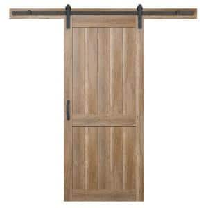 36 in. x 84 in. 2 Panel Plank Sandy Brown Interior Sliding Barn Door Slab with Hardware Kit