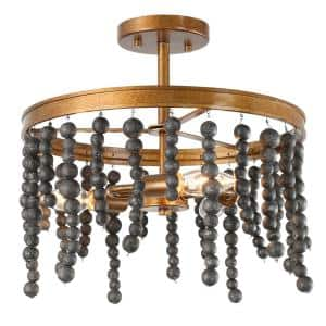 14 in. 3-Light Brass Gold Modern Farmhouse Semi-Flush Mount with Black Wood Beads Vintage Ceiling Mounted Light Fixture