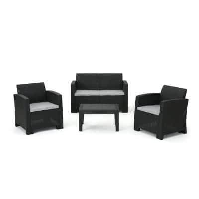Charcoal 4-Piece Wicker Patio Conversation Set with Light Gray Cushions
