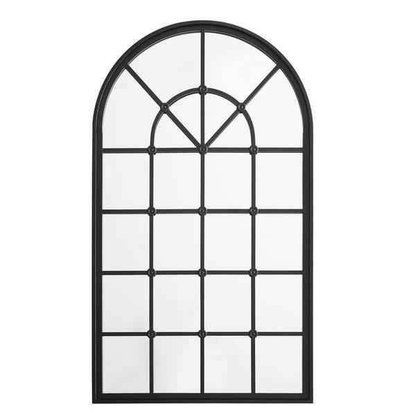 Large Arch Black Modern Mirror, Arched Window Pane Mirror Large