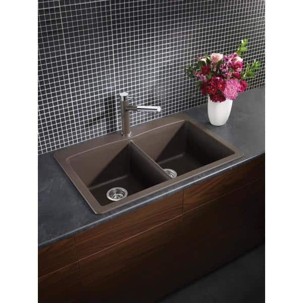 Blanco Diamond Dual Mount Granite Composite 33 In 1 Hole 50 Double Bowl Kitchen Sink Cafe Brown 440218 The Home Depot
