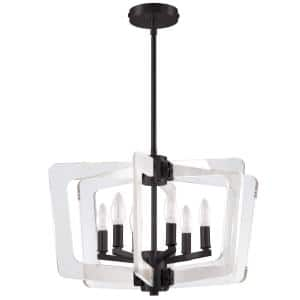 Clearwater 6-Light Matte Black Chandelier with No Shades