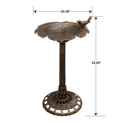 Xbrand 35 in. Tall Plastic Bronze Lightweight Leaf Design Birdbath and Birdfeeder with Bird Outdoor Garden Porch Decor