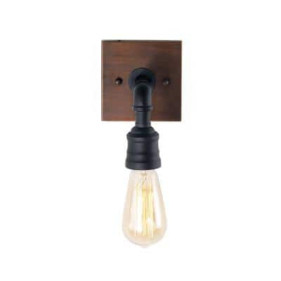 Peter 1-Light Black and Bronze Classic Wall Mount Sconce with Painted Walnut Wood Accents