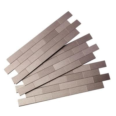 Subway Matted 12 in. x 4 in. Brushed Stainless Metal Decorative Tile Backsplash (1 sq. ft.)