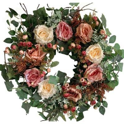 26 in. Unlit Green Artificial Wreath with Roses