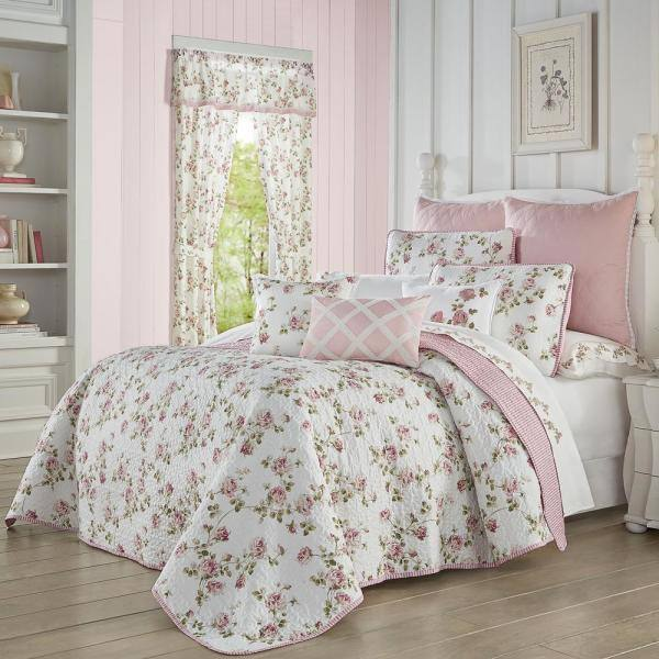 Rosemary 3 Piece Rose Full Queen Quilt Set 2469024fqqls The Home Depot