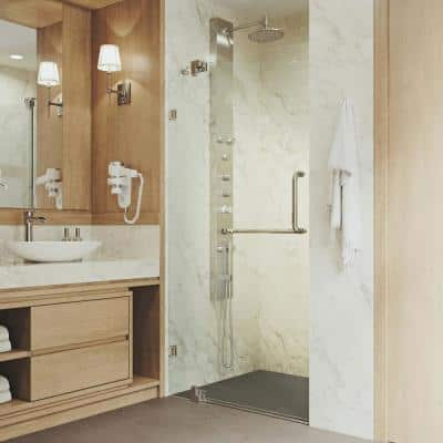 Pirouette 30 to 36 in. W x 72 in. H Pivot Frameless Shower Door in Brushed Nickel with Clear Glass