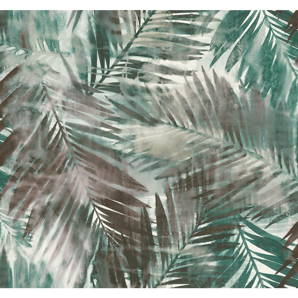 Seabrook Designs Kentmere Tropical Leaf Viridian Green And Espresso Paper Strippable Roll Covers 60 75 Sq Ft Lg90906 The Home Depot