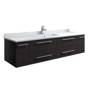 Fresca Lucera 48 In W Wall Hung Bath Vanity In Espresso With Quartz Stone Double Sink Vanity Top In White With White Basins Fcb6148es Uns D Cwh U The Home Depot