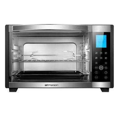 1600 W 6-Slice Black Stainless Steel Convection Toaster Oven with Rotisserie
