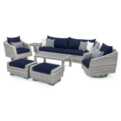 Cannes 8-Piece Motion Wicker Patio Deep Seating Conversation Set with Sunbrella Navy Blue Cushions