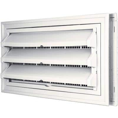 9-3/8 in. x 17-1/2 in. Foundation Vent Kit with Trim Ring and Optional Fixed Louvers (Molded Screen) #117 Bright White