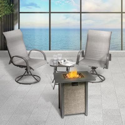 27.95 in. W Textilene Base Metal top Propane Firepit (with Lava Rock Metal Lid and Regulator)