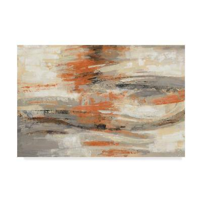 22 in. x 32 in. Golden Dust Crop Orange by Silvia Vassileva Floater Frame Abstract Wall Art