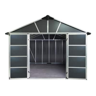Yukon 11 ft. x 9 ft. Dark Gray Large Garden Outdoor Storage Shed with Floor