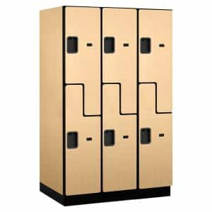 27000 Series Double Tier S Style 24 in. D 6 Compartments Extra Wide Designer Wood Locker in Maple