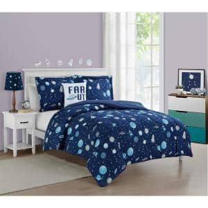 Out of this world Navy 3-Piece Microfiber Comforter Set - Twin