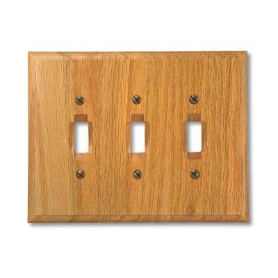 Carson 3 Gang Toggle Wood Wall Plate - Light Oak