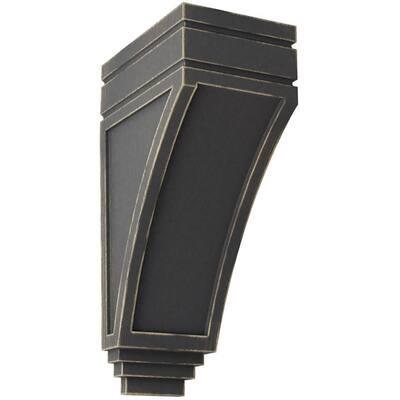 5 in. x 14 in. x 7-3/4 in. Black Large San Juan Wood Vintage Decor Corbel