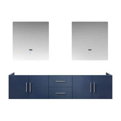 Geneva 80 Inch Wall Mount Double Bathroom Vanity Cabinet Only with 30 Inch LED Mirrors in Navy Blue