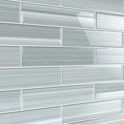 Heron Gray 3 in. x 12 in. Glass Tile for Kitchen Backsplash and Showers (10 sq. ft./per Box)