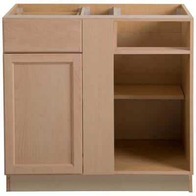 Easthaven Shaker Assembled 36x24.5x34.5 in. Frameless Blind Base Corner Cabinet in Unfinished Beech