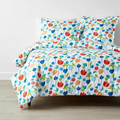 Company Cotton Tulips Multicolored Floral King Percale Comforter