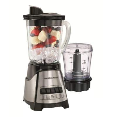 40 oz. 12-Speed Black and Stainless Steel Blender with Food Chopper Jar