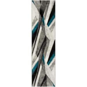 Hollywood Gray/Teal 2 ft. x 14 ft. Abstract Runner Rug