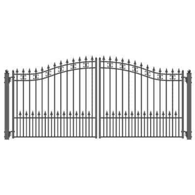 St. Petersburg Style 14 ft. x 6 ft. Black Steel Dual Driveway Fence Gate