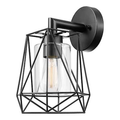 Sansa 1-Light Black Outdoor/Indoor Wall Lantern Sconce