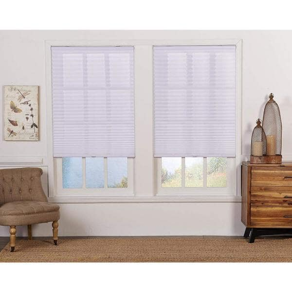 Perfect Lift Window Treatment Cut To Width White Cordless Light Filtering Pleated Shade 70 In W X 64 In L Qdwt700640 The Home Depot