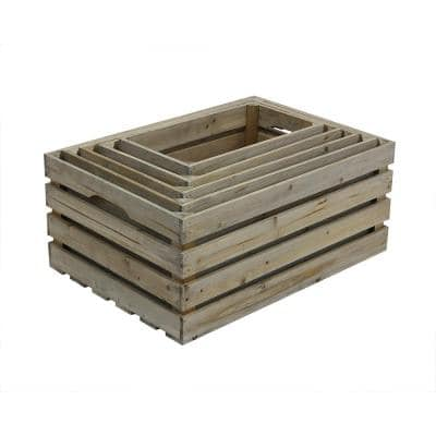 Nested Crate Set in Weathered Gray (5-Pack)