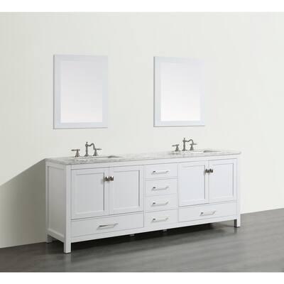 Aberdeen 83.3 in. W x 22 in. D x 35 in. H Vanity in White with Carrara Marble Vanity Top in White with White Basin