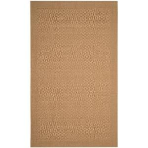 Palm Beach Maize 4 ft. x 6 ft. Speckled Border Area Rug