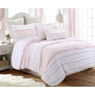 Pretty in Pink Girly Ruffle Stripe Ogee 3-Piece Soft Pink White Cotton Queen Quilt Bedding Set