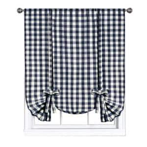 Buffalo Check 42 in. W x 63 in. L Polyester/Cotton Light Filtering Window Panel in Navy