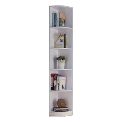 Capacious 70.75 in. Wooden White Finish Corner Display Cabinet with 5 Shelves