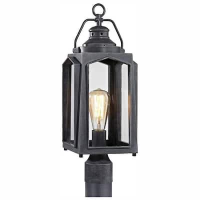 1-Light Charred Iron Outdoor Post Mount Lantern