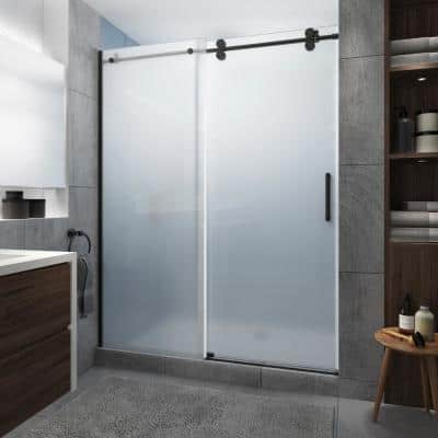 Langham XL 60 in. - 64 in. x 80 in. Frameless Sliding Shower Door with Ultra-Bright Frosted Glass in Matte Black