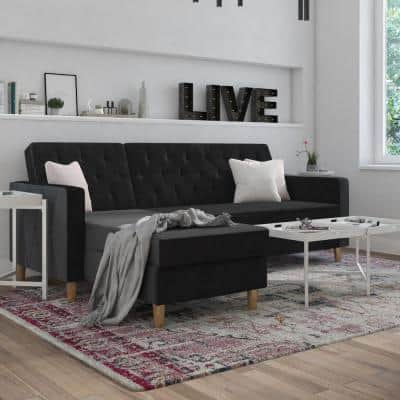 Liberty 1-Piece Black Velvet 3-Seater L Shaped Left Facing Sectionals Futon with Storage